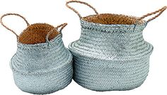 Silver Storage Baskets Set Of 2 -Preorder for March Delivery