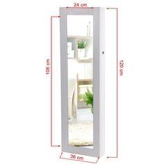 Songmics Armario con espejo para joyas montado a la pared, joyero de pared de madera, color blanco 120cm JBC24W: Amazon.es: Hogar