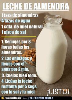 Cómo hacer leche de almendra saludable.  Más tips como estos aqui: http://facebook.com/cuerpoaldente