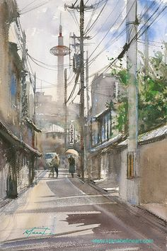 """""""Summer in Kyoto, Japan II"""" watercolor by Keiko Tanabe"""