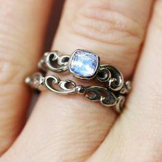 Moonstone engagement ring set rainbow moonstone by metalicious