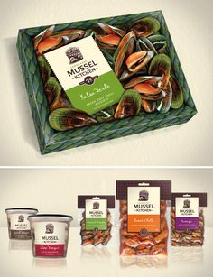 Packaging for a family-owned and operated mussel farming business called The Coromandel Mussel Kitchen and located on the Coromandel Peninsula of New Zealand.