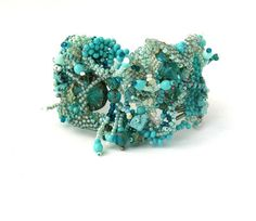 Beaded jewelry, beaded cuff bracelet, beadwork, freeform bracelet, seed bead bracelet, jewelry, rustic, turquoise, aqua, mint bracelet