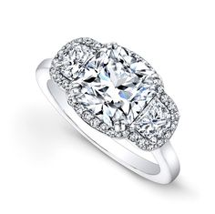 Cushion Diamond Engagement Ring Half Moon Sides filigree Gallery