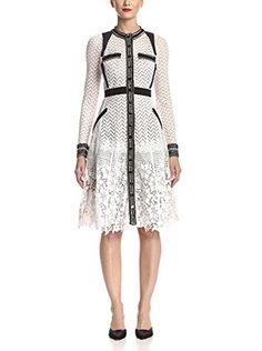Byron Lars Women's Long Sleeve Lace Dress (Mascara/Powder)