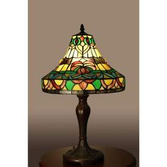 Chinee Bronze Indoor 21 in. Tiffany-Style Table Lamp with Multi-Color Shade-1800MB178 - The Home Depot