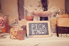 Wedding Pick & Mix = Genius This would be a great wedding favor for guests. Branded pick & mix bags to take home!
