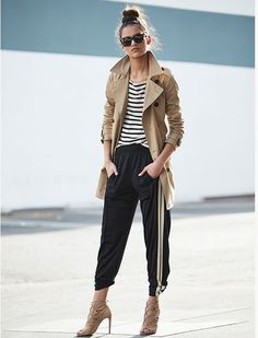 11 Casual Looks that Don't Require your Favorite Pair of Jeans: We love this sporty look with joggers, striped tee and trench coat paired back to neutral heels Sport Style, Sport Chic, Athleisure Trend, Athleisure Fashion, Sport Outfits, Casual Outfits, Fashion Outfits, Fashionable Outfits, Fashion Top