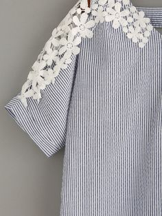 Shop Blue Vertical Striped Crochet Insert Blouse online. SheIn offers Blue Vertical Striped Crochet Insert Blouse & more to fit your fashionable needs.