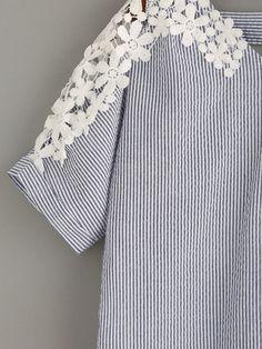 Blue Vertical Striped Crochet Insert Blouse -SheIn(Sheinside)