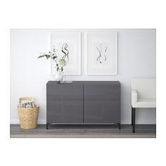 BESTÅ Förvaringskombination+dörrar/lådor - vit/Selsviken högglans/beige, lådskena, mjukstängande - IKEA