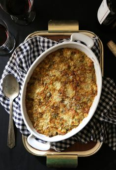 foodie fridays: brussel sprout casserole with bacon and gorgonzola