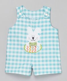 Another great find on #zulily! Blue Gingham Bunny Egg Initial Shortalls - Infant & Toddler #zulilyfinds