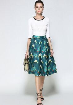 Colour: MultipleMaterial: PolyesterMeasurements: Size M Length: Waist: Hem: L Length: Waist: Hem: XL Length: Waist: Hem: Waist Skirt, Midi Skirt, High Waisted Skirt, Umbrella Skirt, Colour, Princess, Retro, Skirts, Fashion