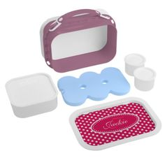 Polka dot red pink girls name & monogram yubo lunch box. Art and design by www.sarahtrett.com