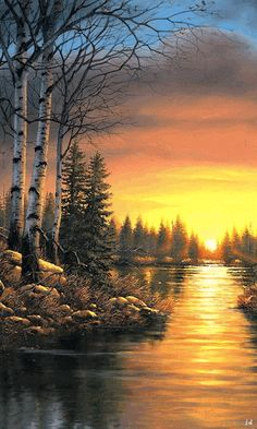With Autumn officially just around the corner, this sunset is just amazing ~. Scenery Paintings, Nature Paintings, Beautiful Paintings, Beautiful Landscapes, Pictures To Paint, Nature Pictures, Cool Pictures, Winter Gif, Landscape Art