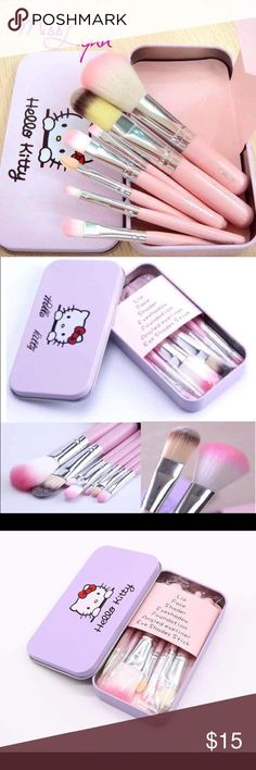 New! Pink Hello Kitty 7pcs Makeup Brushes  Brand New Never Used Makeup Brushes & Tools