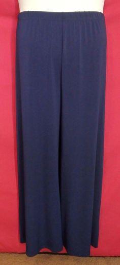 New Bob Mackie 3XP Stretch Knit Petite Wide Leg Pants 3X 26W/28W P 16120602s #BobMackie #DressPants