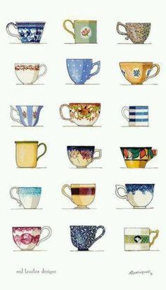Teacups by Rachael Flynn (of Red Tractor Designs). Art Et Illustration, Food Illustrations, Tea Bag Art, Tea Towels, Tea Time, Tea Pots, Artsy, Pottery, Mugs