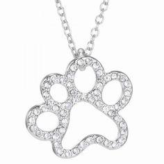 [R]-Silvertone Open Paw Rhinestone Necklace*