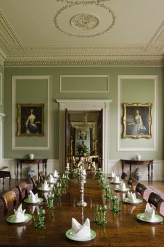 Olive Green Everything  English Interior Farrow Ball And Green Delectable Green Dining Room Walls Design Decoration