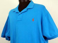 Mens Polo Ralph Lauren XL Blue Short Sleeve 100% Cotton Orange Pony on Chest