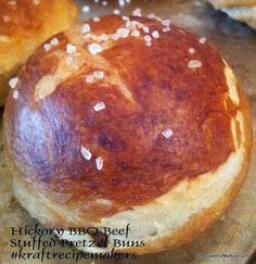 Crock Pot Hickory BBQ Beef is Stuffed inside Pretzel Buns/Rolls  #kraftrecipemakers #shop #cbias