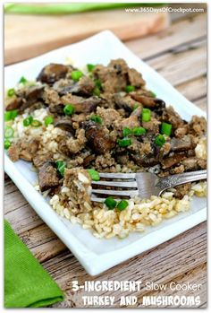 Want something for dinner tonight that is delicious, healthy and only takes 5 minutes to make? Look no further–this slow cooker turkey and mushrooms dish fits the bill.  (This is an updated post from February 2015. Skyler decided to get in on the fun and make dinner. Watch how this recipe is so easy …