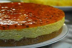 Passion Fruit Mousse Pie- Torta de Mousse de Maracuja - look for recipe. It is just the image. But it has a layer of pudim and a crust of some kind with maracuja on top.