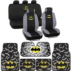 Warner Bros® 14 Pc Full Interior Protection Auto Accessories - DC Batman Super Hero Seat Cover, Floor Mat and Sun Shade