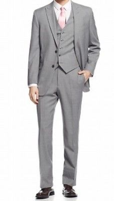 Tommy Hilfiger NEW Gray Light Mens Size 42 Two Button Wool Suit Set $299 246