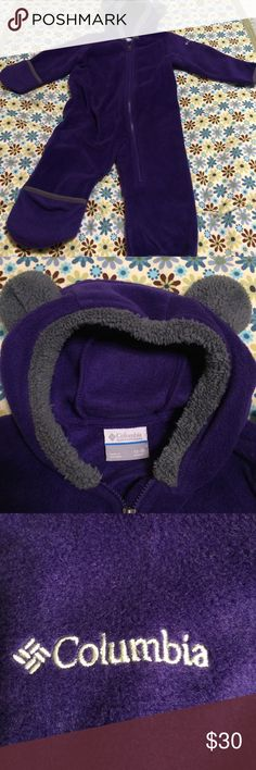 Columbia 🌟PRICE DROP🌟 Baby Bear II Bunting Bright purple fleece onesie by Columbia. Size 12-18 months. The sleeves and legs fold over to keep tiny hands and feet sheltered from the elements. Perfect post-mountain for the ride home, for snuggle time and to be the cutest darn purple bear ever! It's basically brand new. Not one sign of wear on this one. I cannot say the same about the previous one! Columbia Sportswear Jackets & Coats