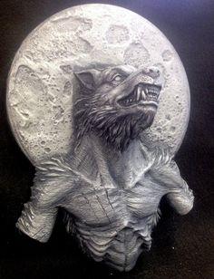 Hombre lobo colgando de la pared arte acabado bronce/plata Lycanthrope Kit resina + pintura su propia opción gótico oscuro terror de culto