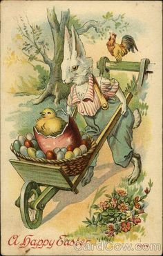 Bunny Pushing Wagon of Eggs With Bunnies