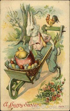 Bunny Pushing Wagon of Eggs With Bunnies