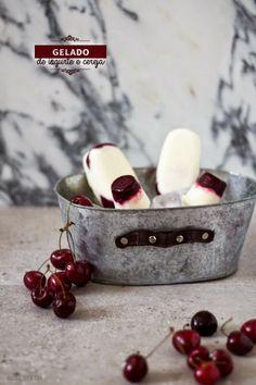 Gelado de iogurte grego e cerejas Yogurt and Cherries Icecream