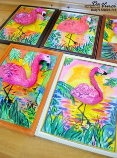 First impression of these Flamingos it that they may be sculpted with aluminum foil painted with acrylic paint then glued down to an already painted tropical landscape background! Nice idea!