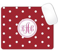 Red And White Polka Dots White Monogram Personalized Custom Monogrammed Mouse Pad