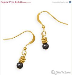 NOW ON SALE Gold French Wire Earrings with by jewelrymandave, $16.11