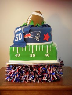 New England Patriots - I created this for a friends 50th birthday party. The football is made with gumpaste. Thanks to all the CCer's for the inspirations!
