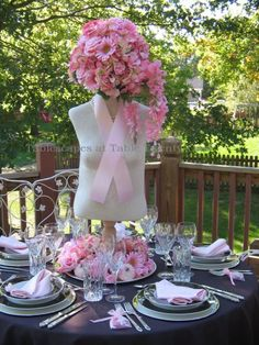 From Tablescapes at Table Twenty-One - what an elegant way to THINK PINK
