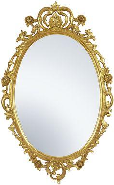 Espejo artesanal de madera, tallado a mano y dorado al agua. http://auromarc.com