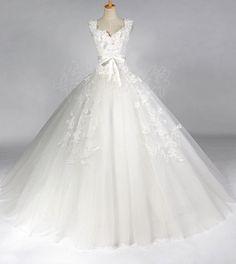 Vintage Wedding Dress A LINE Bridal Gown Flower Dress. $229.00, via Etsy.