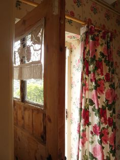 Nostalgia at the Stone House;; Interest that they have a long curtain that can be pulled over the door.