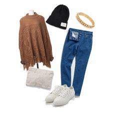 ポンチョ stylist:nao denim white sneaker brown poncho ponte fashion outfits coordinate