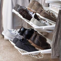 elfa Gliding Shoe Shelf for Flat Shoes - Platinum Shoe Storage Drawers, Shoe Shelves, Walk In Robe, Walk In Closet, Dressing, Sneaker Rack, Howard Storage, Shelving Solutions, Fancy Shoes