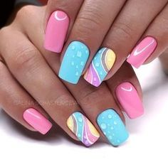 Try some of these designs and give your nails a quick makeover, gallery of unique nail art designs for any season. The best images and creative ideas for your nails. Popular Nail Designs, Best Nail Art Designs, Newest Nail Designs, Bright Nail Designs, Bright Summer Nails, Spring Nails, Nail Summer, Summer Colors, Summer Holiday Nails