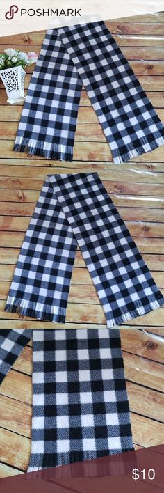 🔵New Listing🔵Buffalo Plaid Fleece Scarf Fleece Handmade Scarf. Black and White Buffalo Plaid. Width is approximately 10inches, length is approximately 62inches. Product may vary piece by piece as this is handmade by myself~Kelly'sCakesBoutique.  2 available. Kelly'sCakesBoutique Accessories Scarves & Wraps