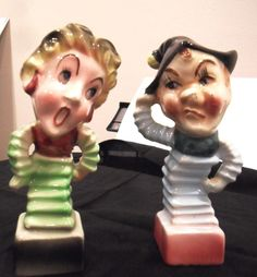 Vintage Salt & Pepper Jack in the box style Punch & Judy Shakers RARE FIND!