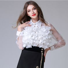 a1a3a431523 HIGH QUALITY New Fashion 2017 Designer Top Blouse Women s Long Sleeve  Ruffle Flower Appliques Summer Blouse